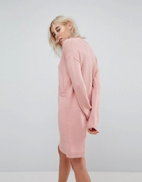 photo Chunky Knitted Dress with Wrap Detail by ASOS, color Blush - Image 2