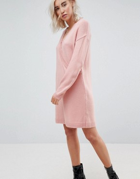 photo Chunky Knitted Dress with Wrap Detail by ASOS, color Blush - Image 1