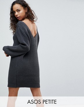photo Chunky Mini Knitted Dress with V-Back by ASOS PETITE, color Charcoal - Image 1