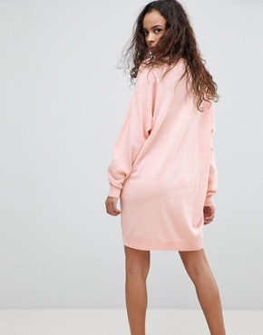 photo Knitted Oversized Crew Neck Dress by ASOS PETITE, color Blush - Image 2