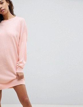 photo Knitted Oversized Crew Neck Dress by ASOS PETITE, color Blush - Image 3