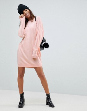 photo Knitted Oversized Crew Neck Dress by ASOS PETITE, color Blush - Image 4