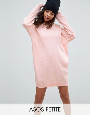 photo Knitted Oversized Crew Neck Dress by ASOS PETITE, color Blush - Image 1