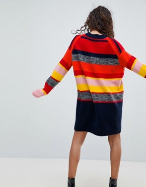 photo Knitted Oversized Dress in Stripe by ASOS PETITE, color Multi - Image 2