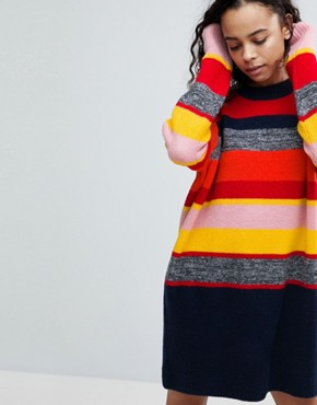 photo Knitted Oversized Dress in Stripe by ASOS PETITE, color Multi - Image 3