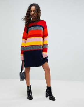 photo Knitted Oversized Dress in Stripe by ASOS PETITE, color Multi - Image 4