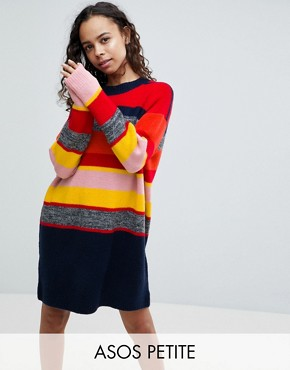 photo Knitted Oversized Dress in Stripe by ASOS PETITE, color Multi - Image 1