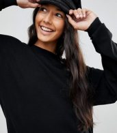photo Knitted Oversized Crew Neck Dress by ASOS TALL, color Black - Image 3