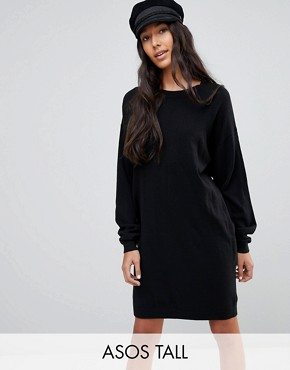 photo Knitted Oversized Crew Neck Dress by ASOS TALL, color Black - Image 1