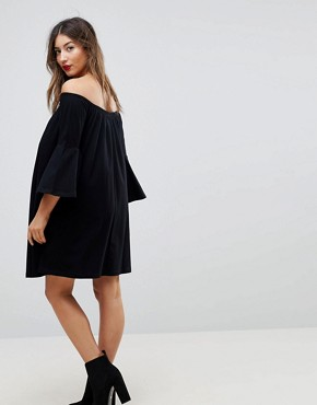 photo Off Shoulder Mini Dress with Trumpet Sleeve by ASOS Maternity, color Black - Image 2