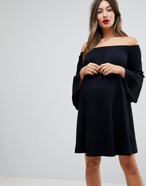 photo Off Shoulder Mini Dress with Trumpet Sleeve by ASOS Maternity, color Black - Image 1