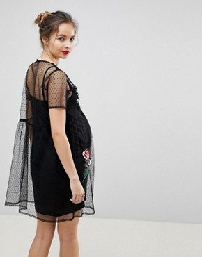 photo Dobby Mesh Mini Smock Dress with Embellished Flowers by ASOS Maternity PREMIUM, color Multi - Image 2