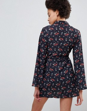 photo Bell Sleeve Printed Shirt Dress by Unique 21, color Floral - Image 2