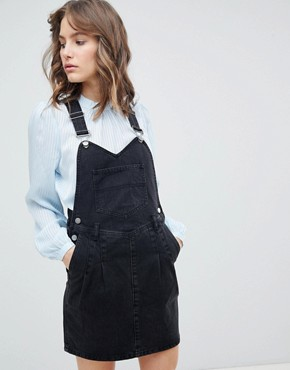 photo Denim Dungaree Dress in Washed Black with Pleat Detail by ASOS DESIGN, color Washed Black - Image 1