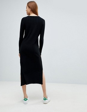 photo Midi Dress in Pleated Wide Rib by ASOS TALL, color Black - Image 2