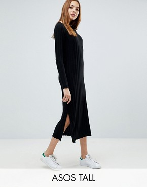 photo Midi Dress in Pleated Wide Rib by ASOS TALL, color Black - Image 1