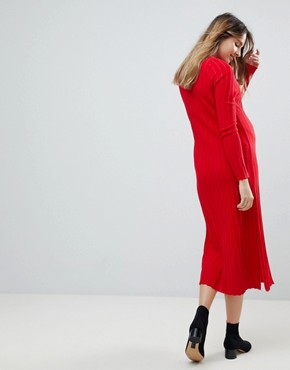 photo Midi Dress in Pleated Wide Rib by ASOS Maternity, color Tomato - Image 2