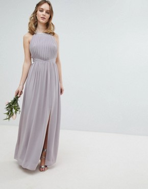 photo Embellished Back Detail Maxi Bridesmaid Dress by TFNC Petite, color Grey - Image 2