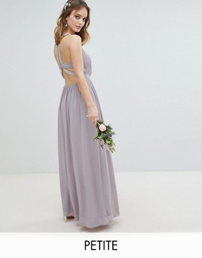 photo Embellished Back Detail Maxi Bridesmaid Dress by TFNC Petite, color Grey - Image 1