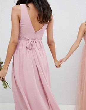 photo Wrap Front Midi Bridesmaid Dress with Tie Back by TFNC Tall, color Vintage Rose - Image 2