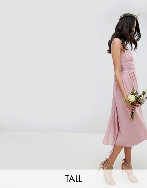 photo Wrap Front Midi Bridesmaid Dress with Tie Back by TFNC Tall, color Vintage Rose - Image 1