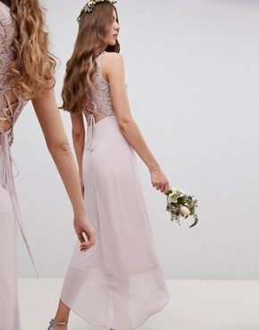 photo Lace Up Back Midi Bridesmaid Dress by TFNC Tall, color Mink - Image 2