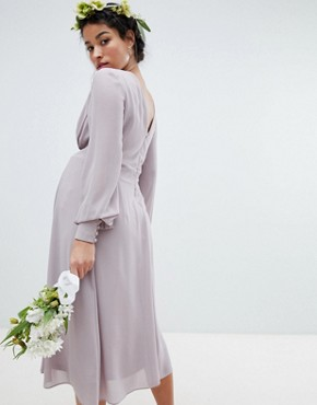 photo Long Sleeve Midi Bridesmaid Dress with Pleated Skirt by TFNC Maternity, color Grey - Image 2