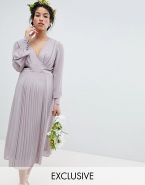 photo Long Sleeve Midi Bridesmaid Dress with Pleated Skirt by TFNC Maternity, color Grey - Image 1