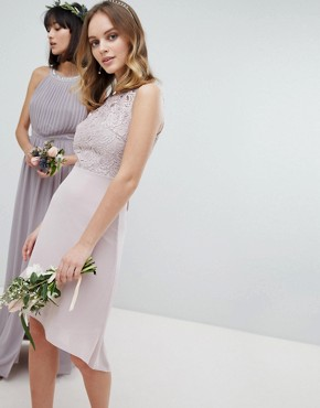 photo Lace Up Back Midi Bridesmaid Dress by TFNC Petite, color Mink - Image 2