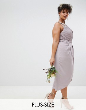photo Wrap Embellished Midi Bridesmaid Dress by TFNC Plus, color Grey - Image 1