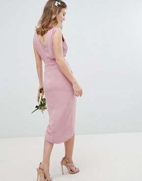 photo Wrap Embellished Midi Bridesmaid Dress by TFNC Petite, color Vintage Rose - Image 2