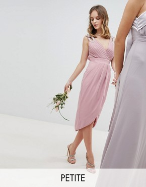 photo Wrap Embellished Midi Bridesmaid Dress by TFNC Petite, color Vintage Rose - Image 1