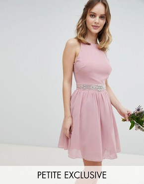 photo Embellished Midi Bridesmaid Dress with Full Prom Skirt by TFNC Petite, color Vintage Rose - Image 1