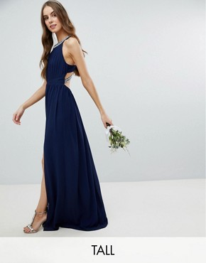 photo Embellished Back Detail Maxi Bridesmaid Dress by TFNC Tall, color Navy - Image 1