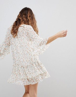 photo Floral Print Chiffon Ruffled Dress by Crescent, color Ivory - Image 2