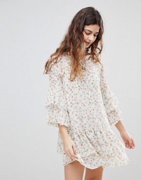 photo Floral Print Chiffon Ruffled Dress by Crescent, color Ivory - Image 1