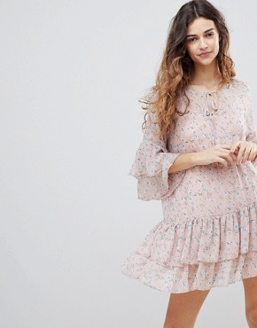 photo Floral Print Chiffon Ruffled Dress by Crescent, color Salmon - Image 1