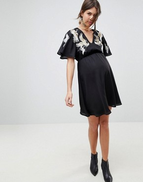 photo Bird Embroidered Flutter Sleeve Mini Dress by ASOS Maternity, color Black - Image 1