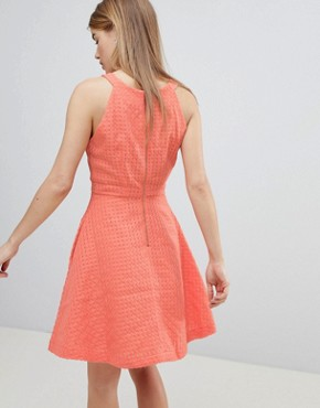 photo Textured Skater Dress by Louche, color Coral - Image 2