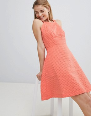 photo Textured Skater Dress by Louche, color Coral - Image 1