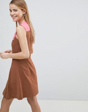 photo Drop Hem Dress with Pleated Skirt and Contrast Neck by Louche, color Brown - Image 2