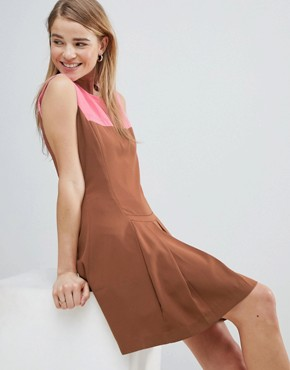 photo Drop Hem Dress with Pleated Skirt and Contrast Neck by Louche, color Brown - Image 1