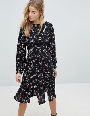photo Midi Dress with Front Splits by Girls on Film, color Black Base Floral - Image 1