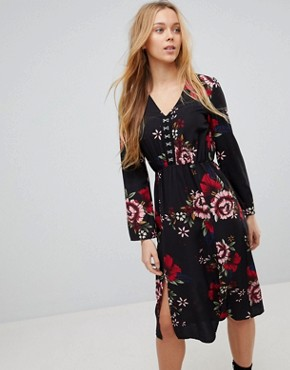 photo Floral Midi Dress with Hook and Eye Fastening by Girls on Film, color Black Base Floral - Image 1