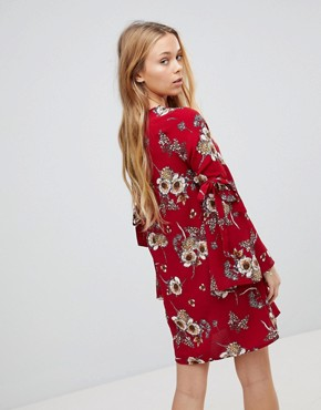 photo Floral Dress with Flare Tie Sleeve by Girls on Film, color Burgundy Base Print - Image 2