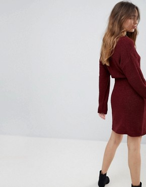 photo Knitted Dress in Batwing by ASOS, color Berry - Image 2