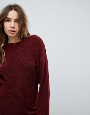 photo Knitted Dress in Batwing by ASOS, color Berry - Image 3