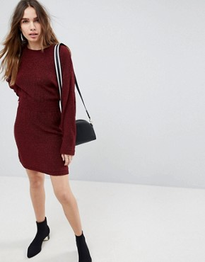 photo Knitted Dress in Batwing by ASOS, color Berry - Image 4