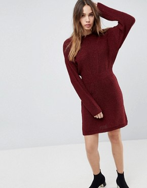 photo Knitted Dress in Batwing by ASOS, color Berry - Image 1