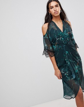 photo Cold Shoulder Midi Dress with Twist Front by Hope & Ivy, color Teal Print - Image 1